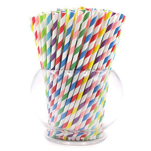 200 colorful Biodegradable paper party straws